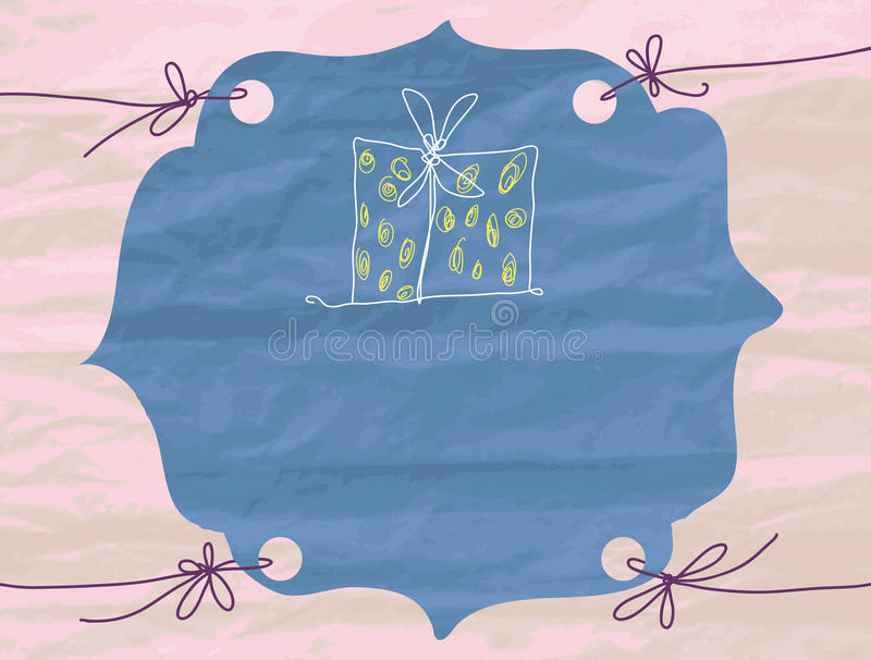 Vector frame with a texture of crumpled paper. Pla stock illustration
