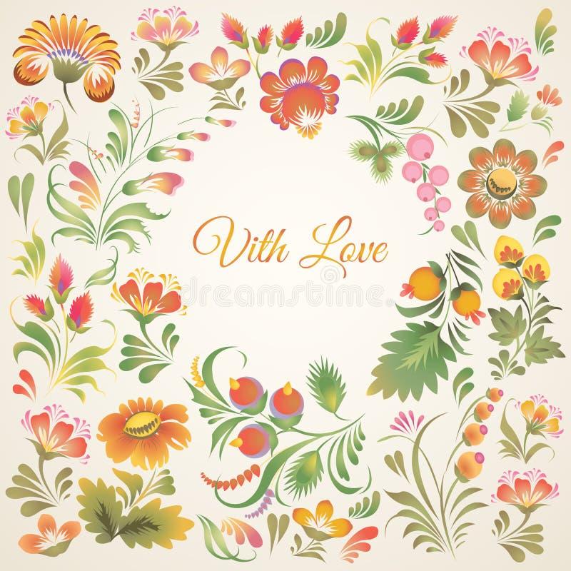 Vector frame in Ukrainian folk style. Stock vector frame on light background with floral ornament in folk style (Ukrainian folk art). Soft and lovely colors vector illustration
