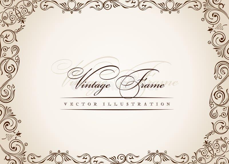 Vector frame. vintage antique floral decor royalty free illustration