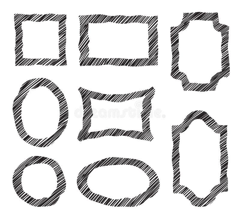Vector frames do doodle Grupo de esboçar quadros à moda do grunge Ha ilustração do vetor