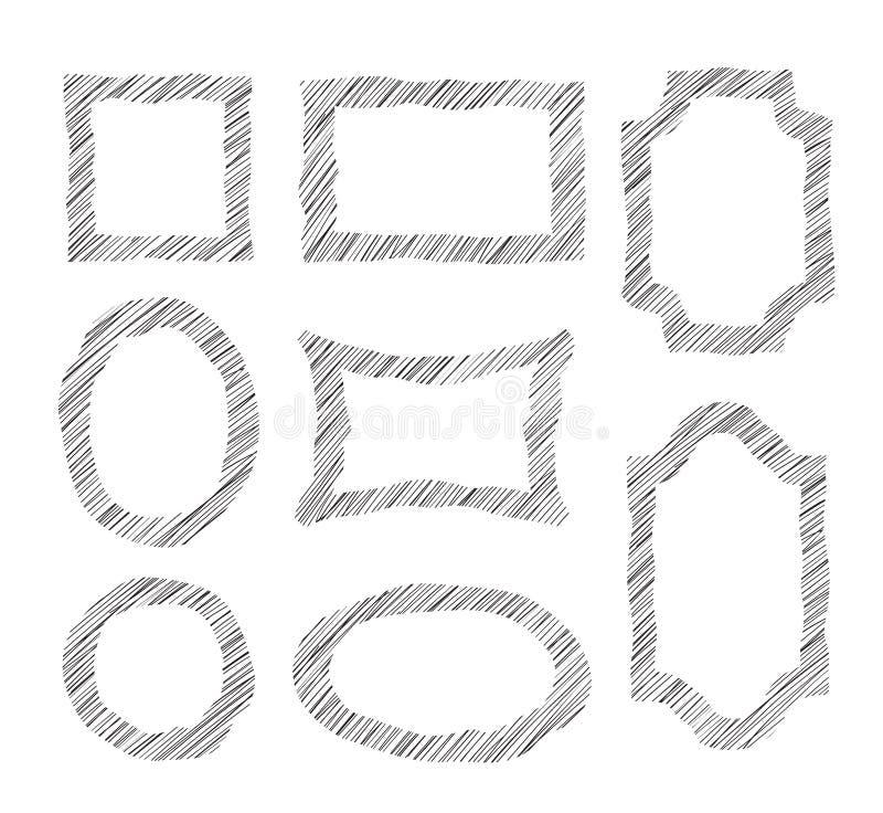 Vector frames do doodle Grupo de esboçar quadros geométricos do formulário ST ilustração royalty free