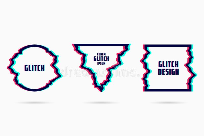 Vector frames with glitch effect. Geometric shapes - circle, triangle and square with TV distortion effects. Vector. royalty free illustration