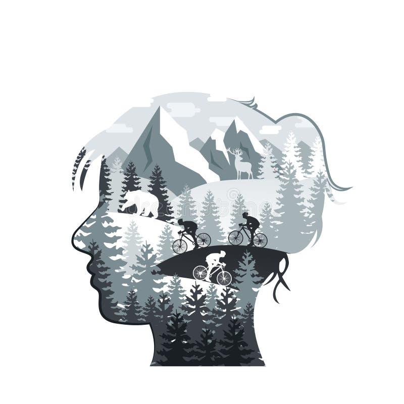 Vector Frauenkopf mit Wald, Berge, Tiere stock abbildung