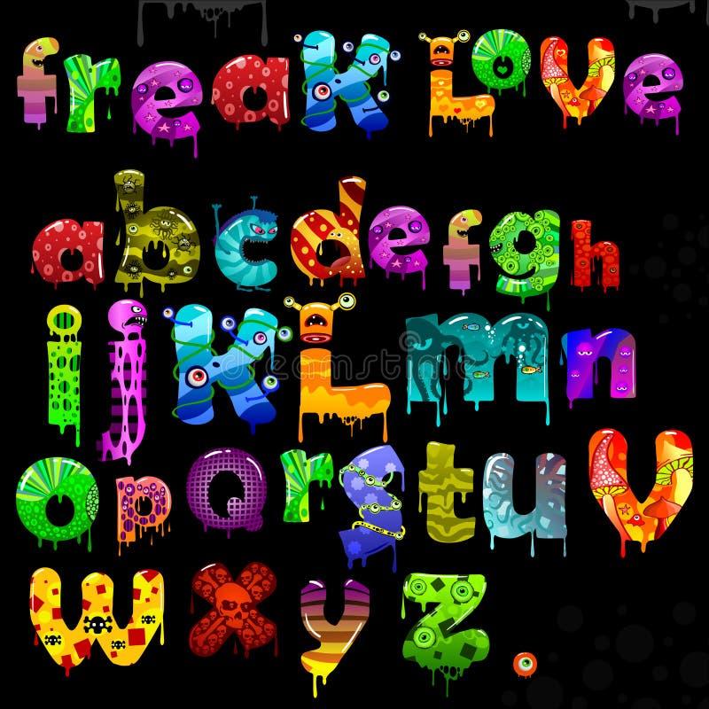 Vector freak alphabet stock illustration