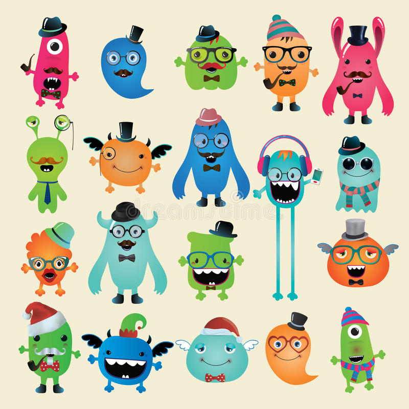Free Vector Freaky Hipster Monsters Set Stock Image - 36590241