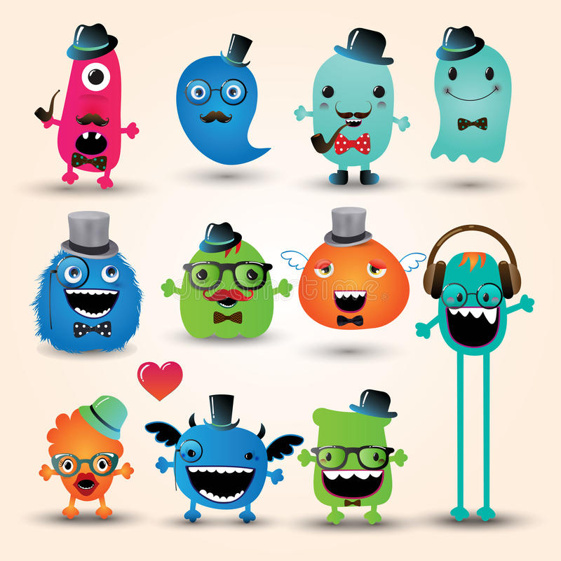 Download Vector Freaky Hipster Monsters Set Royalty Free Stock Image - Image: 35706316