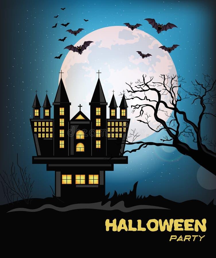 Vector frecuentado del fondo de la tarjeta de Halloween del castillo Noche oscura de la Luna Llena con el vuelo de los palos Ejem stock de ilustración