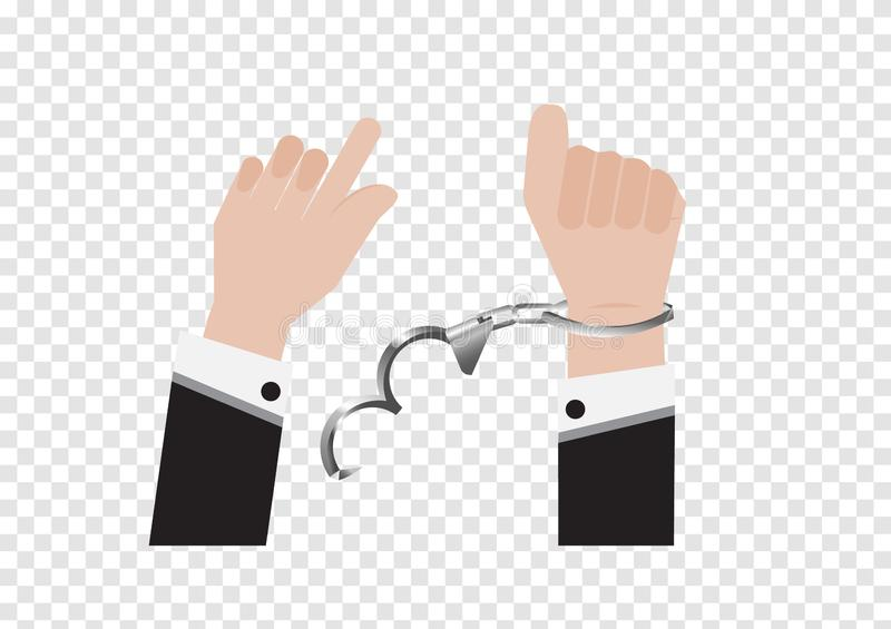 A vector of freedom hand from handcuff bondage of prisoner or businessman in back suit and arrested Control by putting silver han. Dcuffs isolated on white royalty free illustration