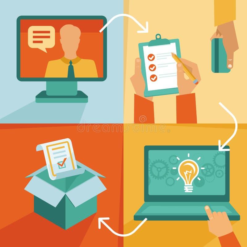 Vector freelance work progress. Job inquiry, payment and development icons vector illustration