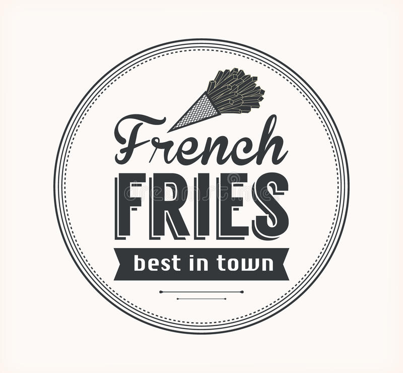 Vector French Fries Icon. Vector French Fries Badge with Linear Style vector illustration