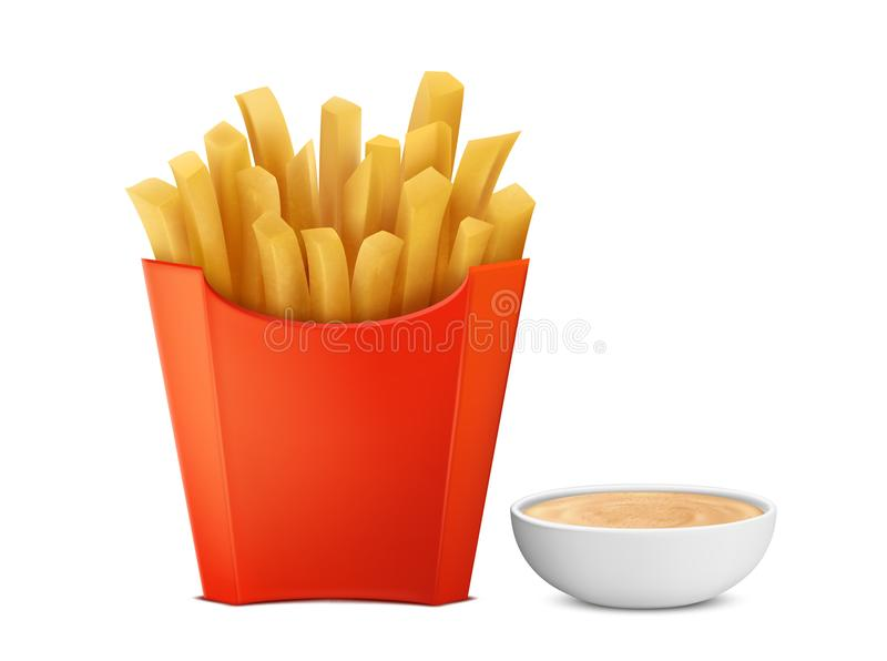 Vector french fries in paper box, mayochup royalty free illustration