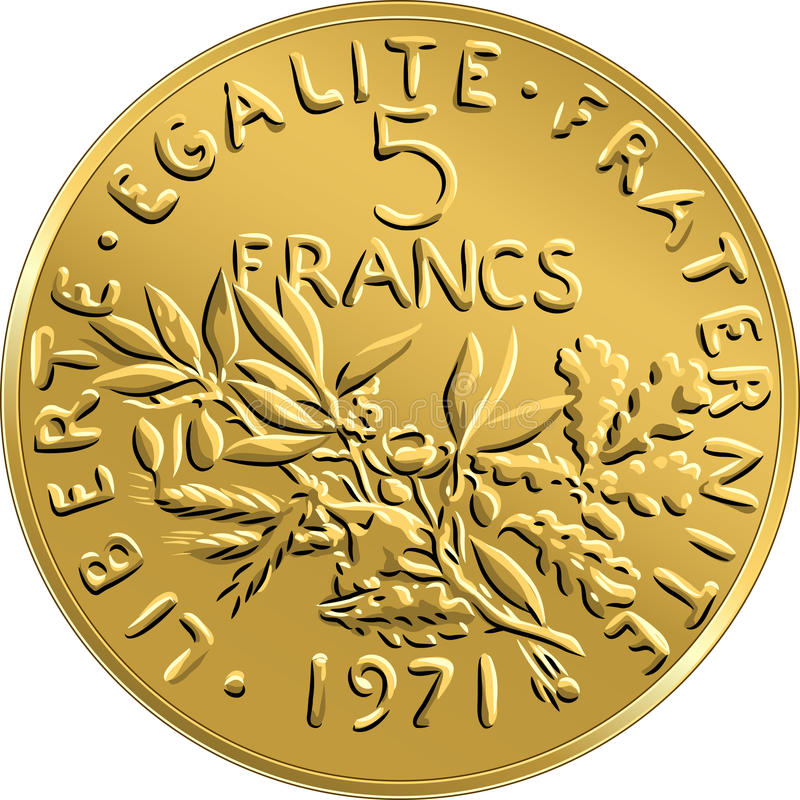 Vector French money coin ffive francs obverse stock photography