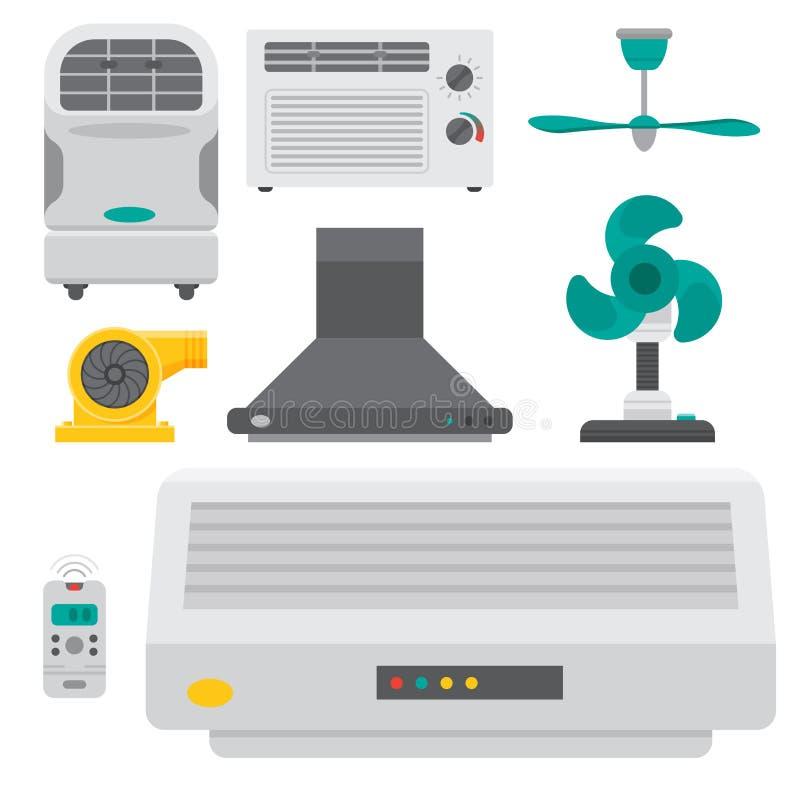 Vector fresco de condicionamiento de la temperatura de la tecnología de la fan del clima del ventilador del equipo de sistemas de libre illustration