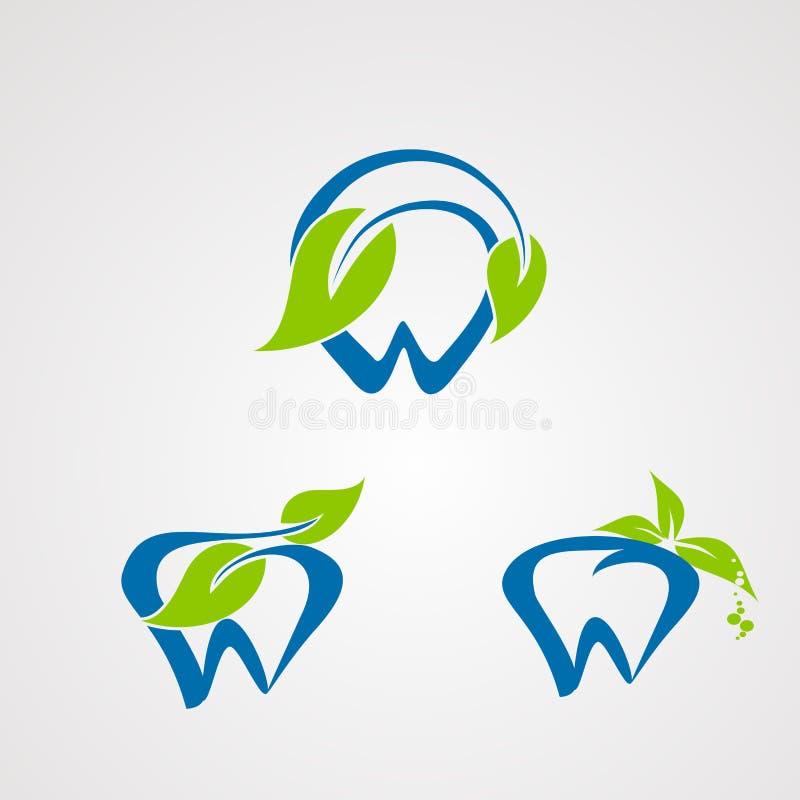 Vector fresco del logotipo del dentista con concepto, el icono, el elemento, y la plantilla naturales para la compañía libre illustration