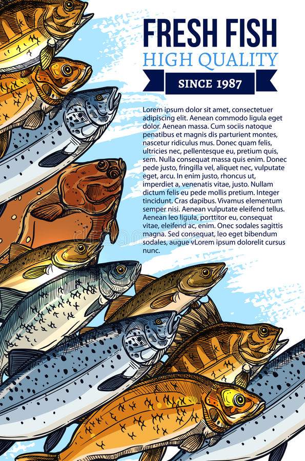 Vector fresh fish catch poster for market. Fishing poster for fresh fish food market design. Vector seafood and fish catch of fisherman salmon, herring and royalty free illustration