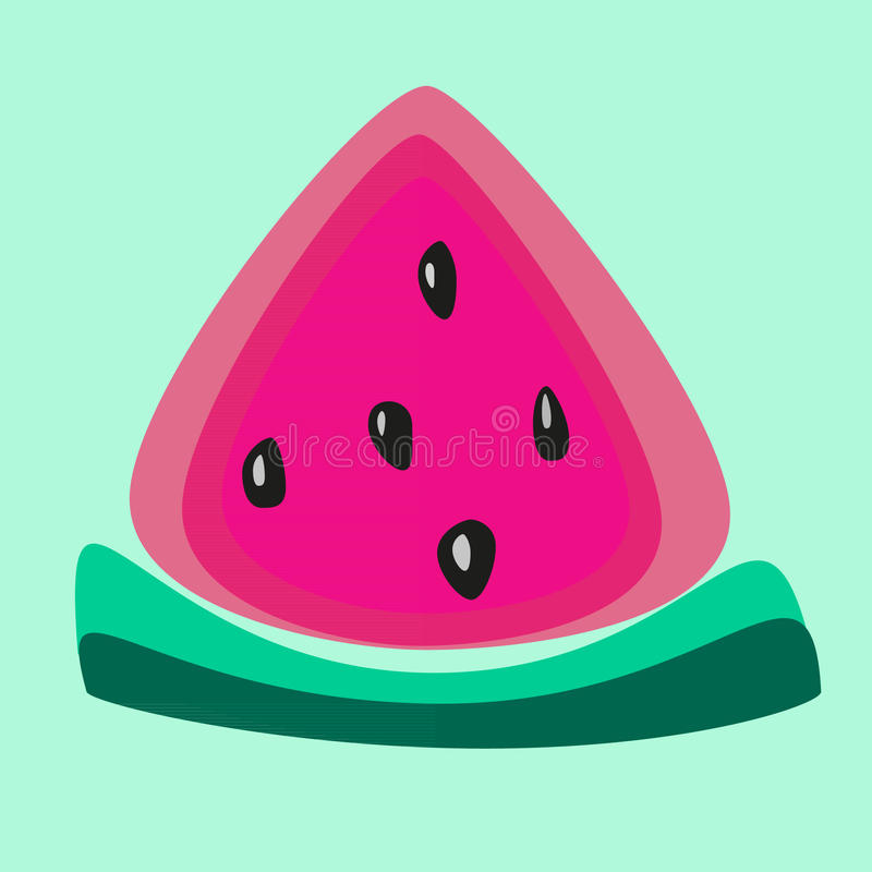 Vector fresh sweet watermelon slice illustration on mint background royalty free stock images