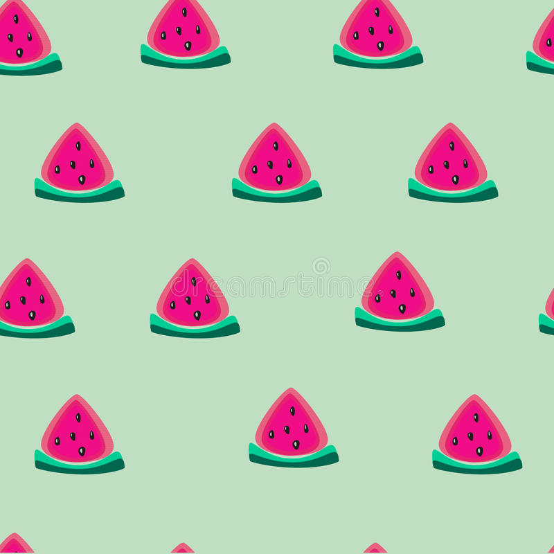 Vector fresh sweet watermelon slice seamless pattern illustration on mint background royalty free stock photography