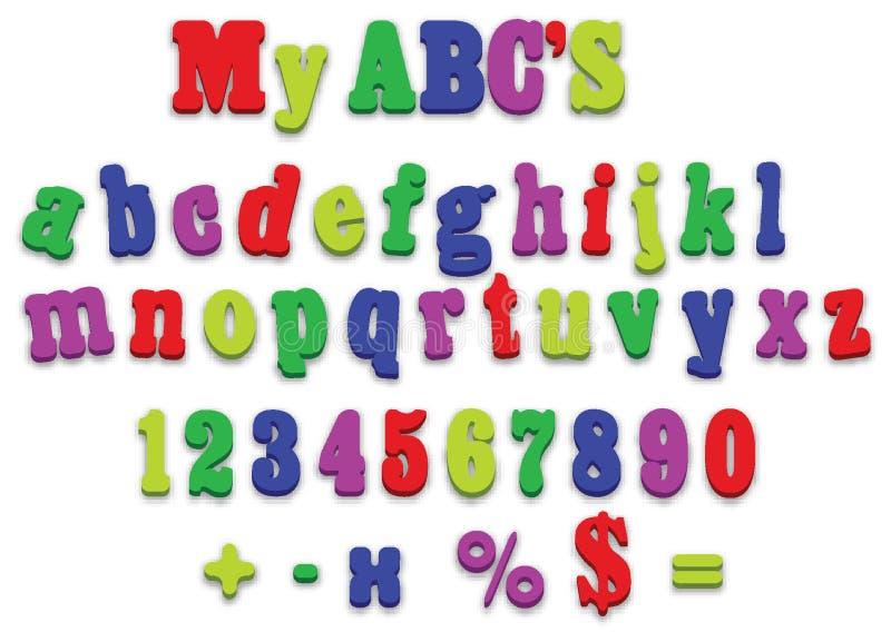 Vector fridge magnet alphabet spelling letters vector illustration