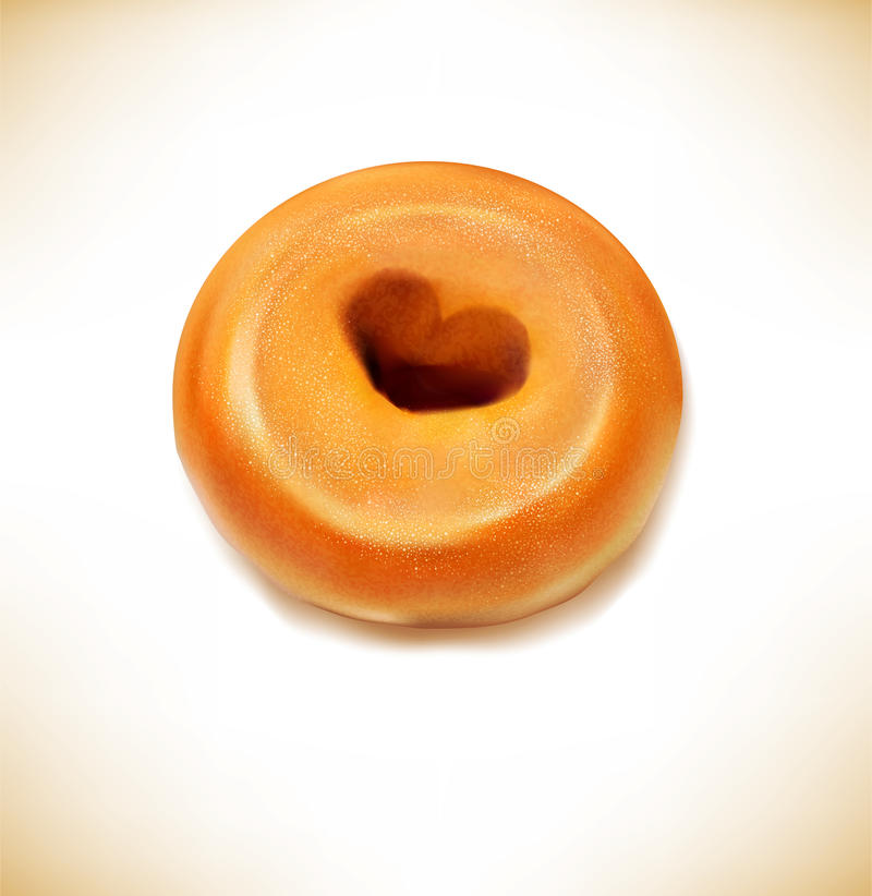 Vector fried donut with a hole in the form of heart royalty free illustration
