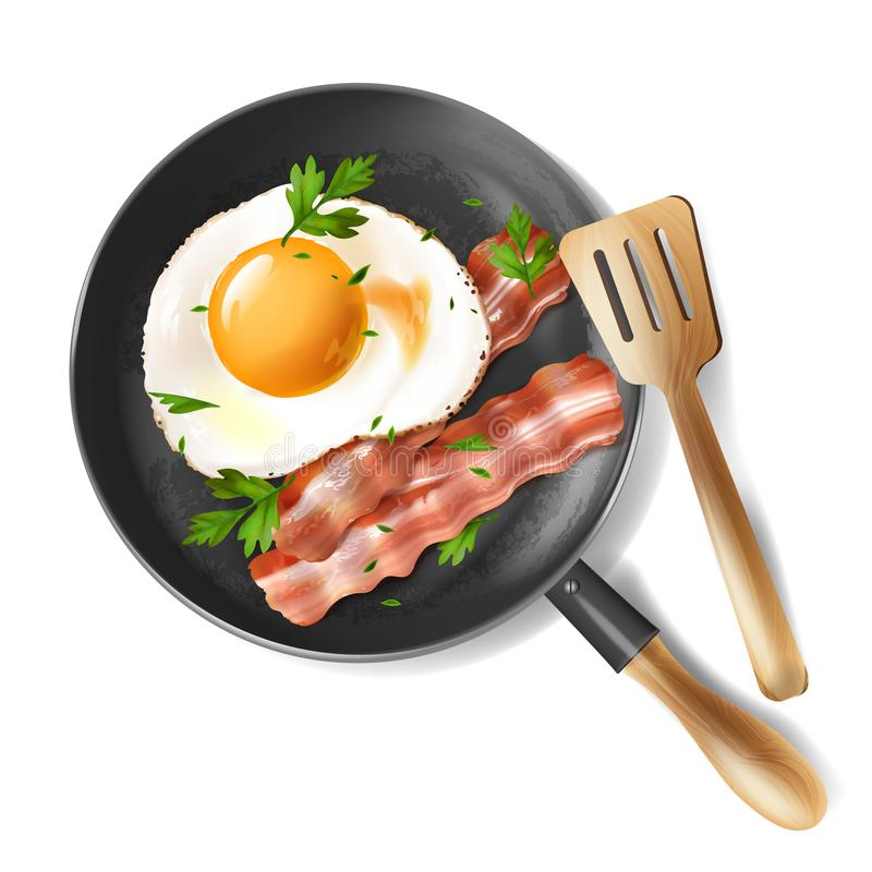 Vector fried eggs with bacon strips and parsley stock illustration