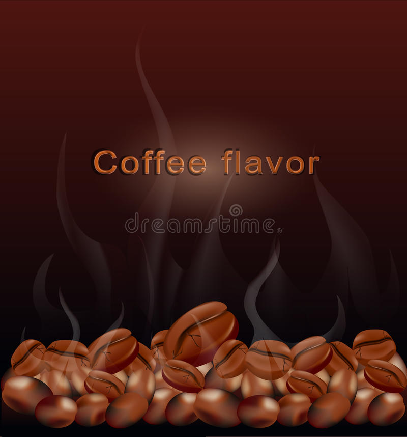 Vector fried hot coffee beans stock illustration