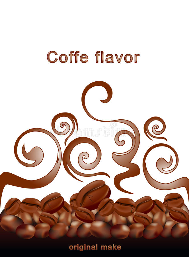 Vector fried hot coffee beans on white background vector illustration