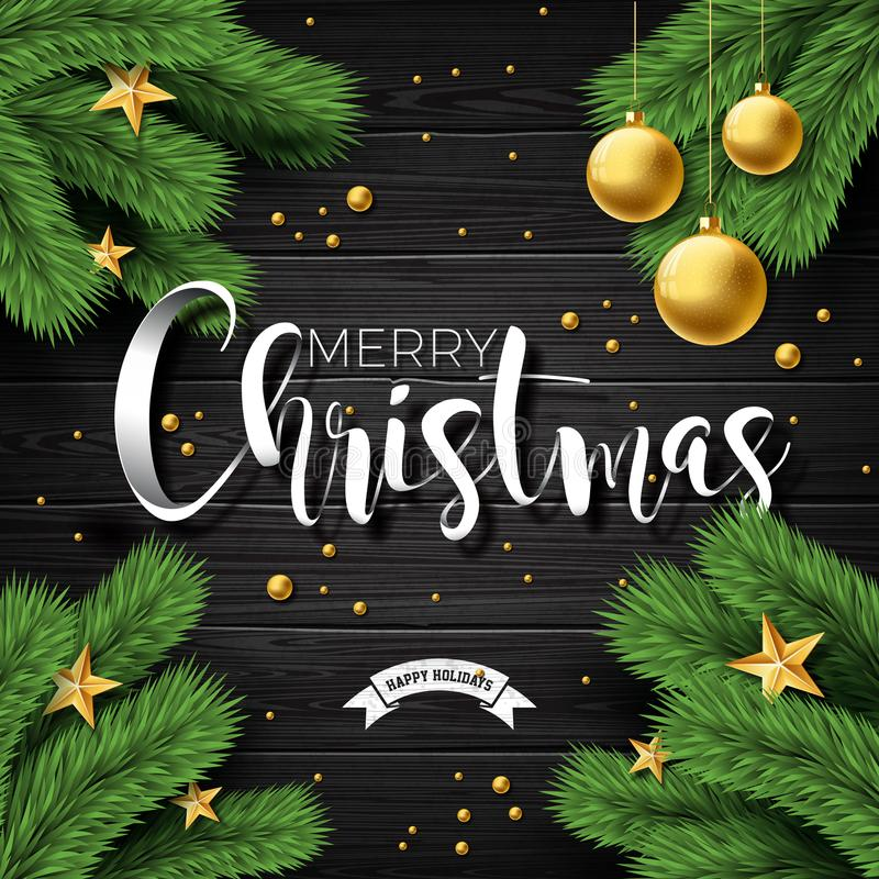 Vector frohe Weihnacht-Illustration auf Weinlese hölzernem Hintergrund mit Typografie-und Feiertags-Elementen Sterne, Kiefernnied stock abbildung