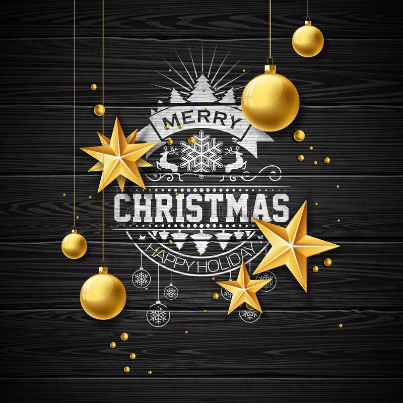 Vector frohe Weihnacht-Illustration auf Weinlese hölzernem Hintergrund mit Typografie-und Feiertags-Elementen Sterne und stock abbildung