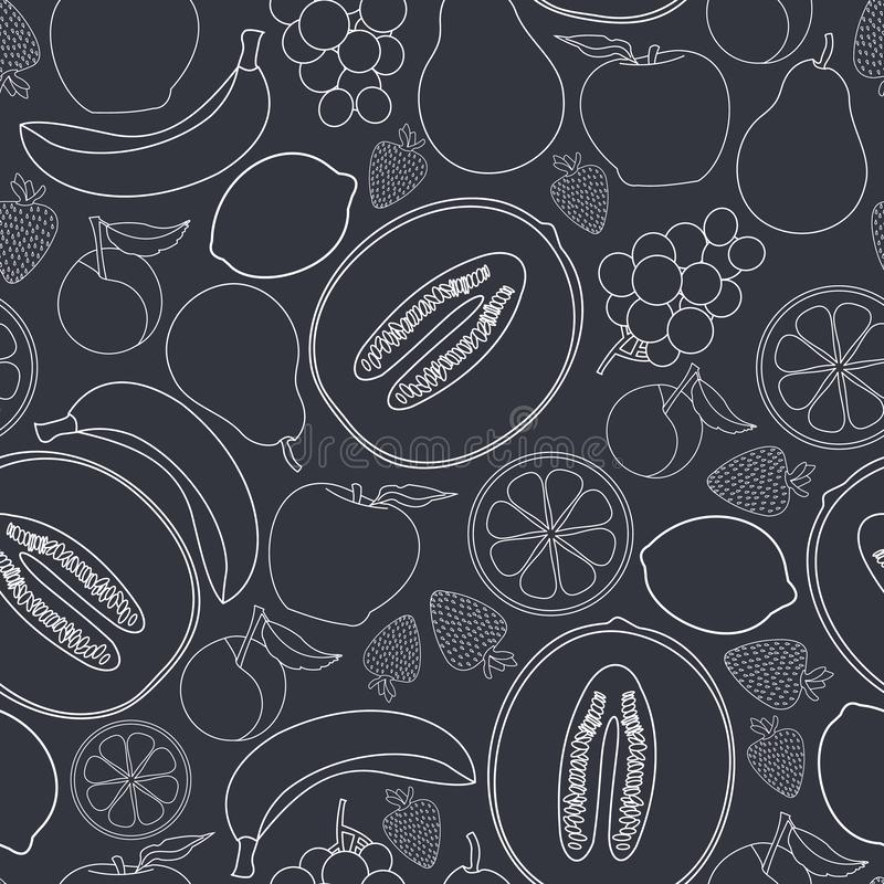 Vector Fruit Apples Oranges Grapes Strawberries Pears Bananas Cantaloupe Lemons Plums on Gray Seamless Repeat Pattern. For Surface Pattern Design stock illustration