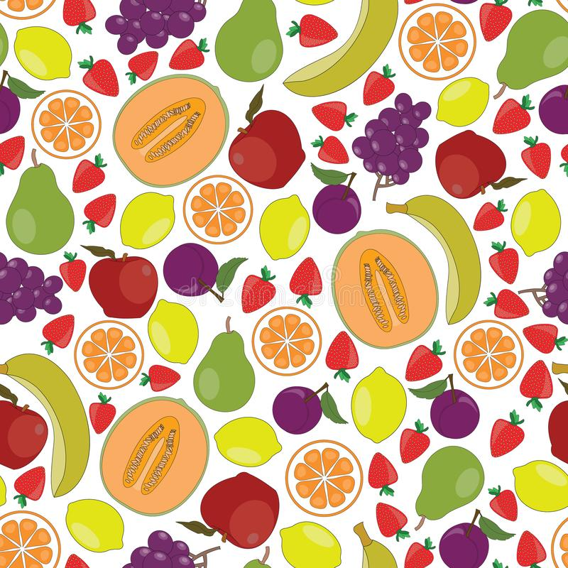 Vector Fruit Apples Oranges Grapes Strawberries Pears Bananas Cantaloupe Lemons Plums on White Seamless Repeat Pattern. For Surface Pattern Design royalty free illustration