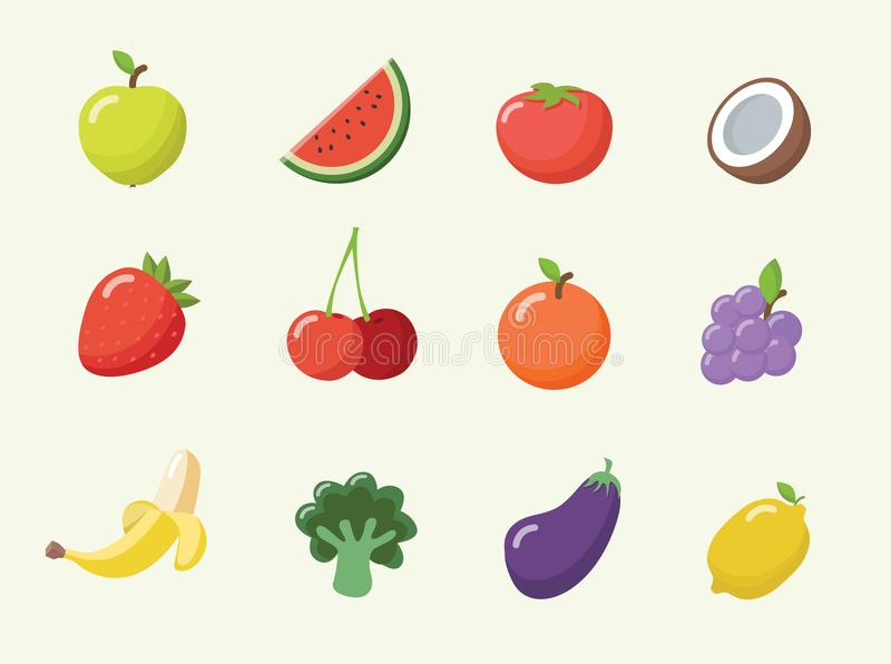 Vector fruit icon set royalty free illustration