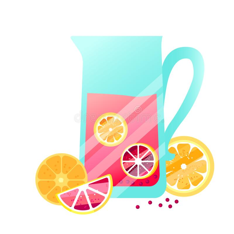 Vector fruit juice with berries, oranges and lemons. vector illustration