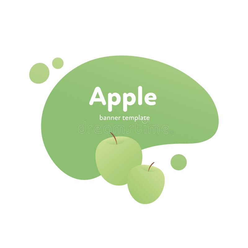 Free Vector Fruit Modern Fluid Banner. Colorful Natural Green Apple On Splash Shape Frame Isolated On White Background. Design Stock Images - 190243434