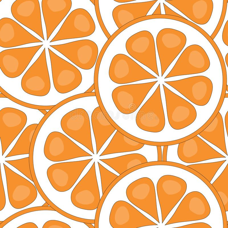 Vector Fruit Oranges Slices on White Seamless Repeat Pattern. For Surface Pattern Design stock illustration
