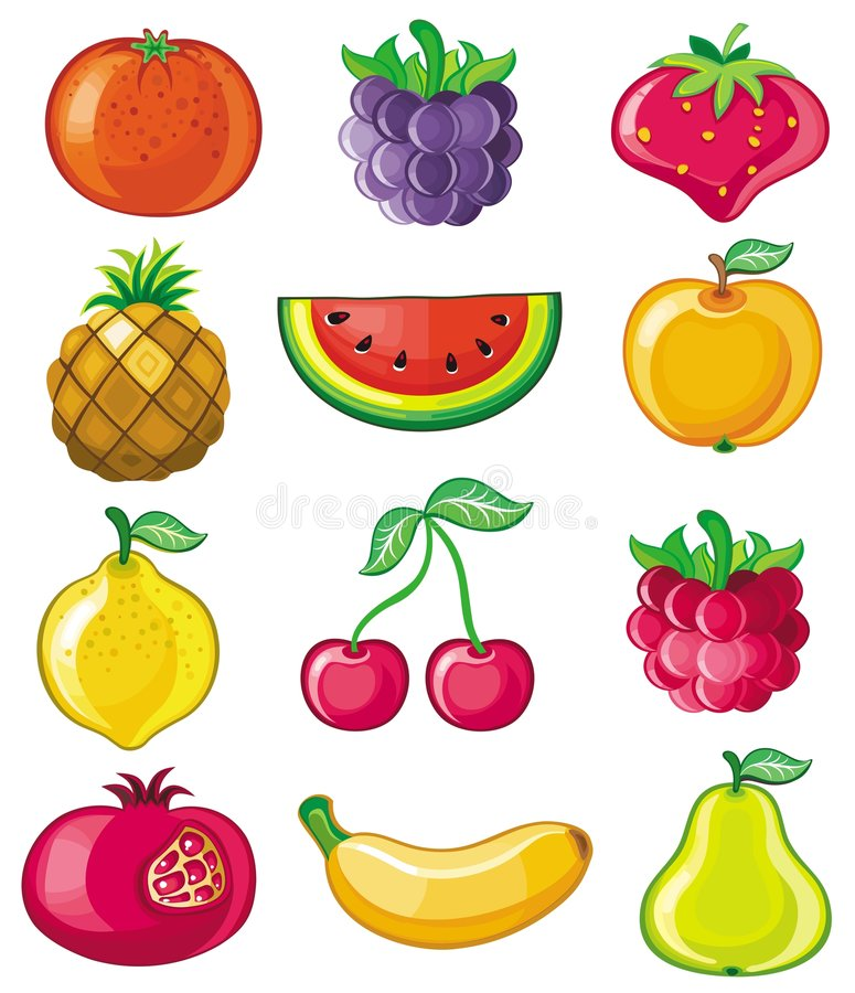 Vector fruits. Icon Set, a lot of fruits on white background royalty free illustration