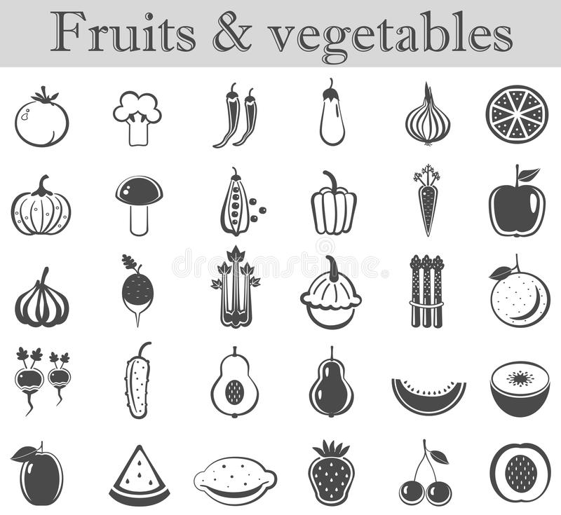 Vector fruits and vegetables black icon set. Dark grey ultra modern icons. royalty free illustration
