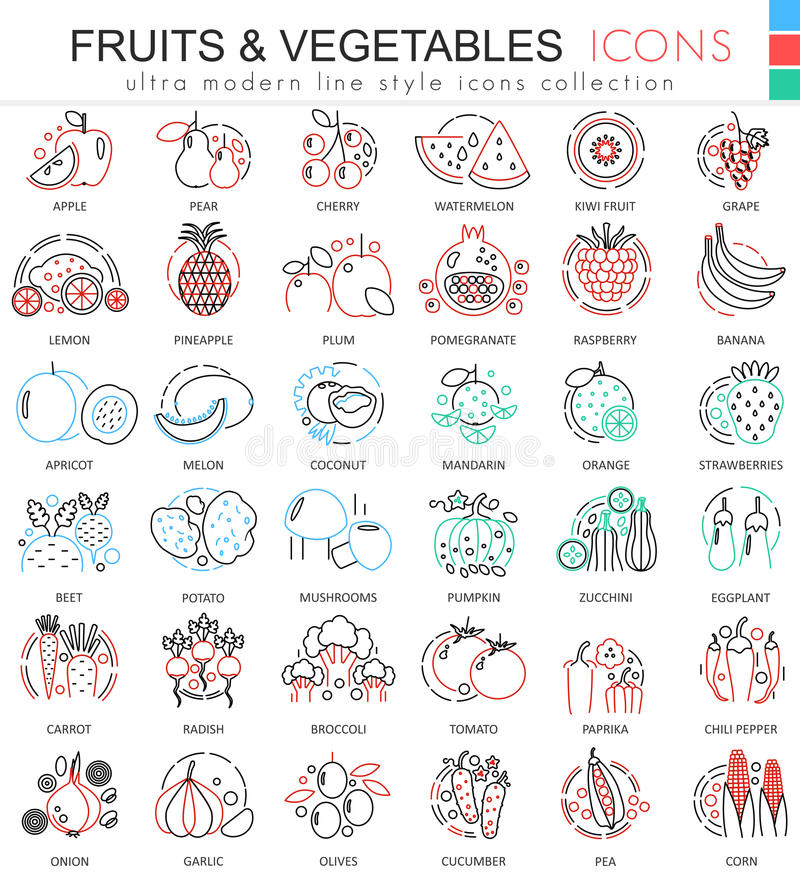 Vector Fruits and vegetables color line outline icons for apps and web design. Fruits and vegetables food elements icons royalty free illustration