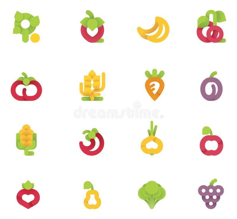 Vector fruits and vegetables set royalty free illustration