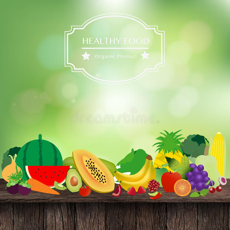 Vector fruits and vegetables on wooden table royalty free illustration