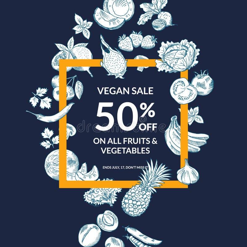 Vector frutas e legumes esboçadas compram ou introduzem no mercado o fundo da venda com quadro corajoso ilustração stock