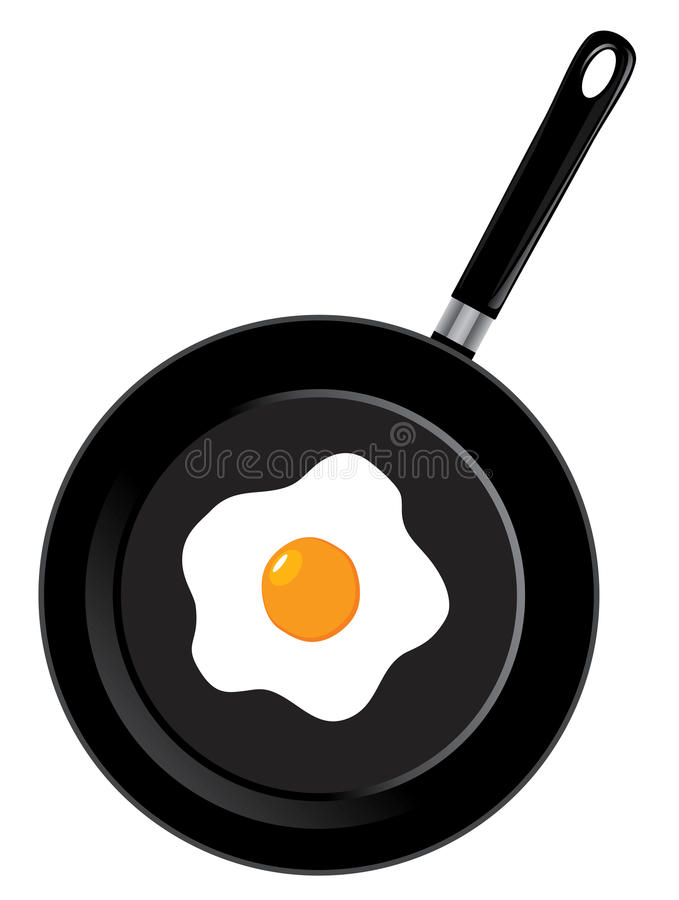 Vector frying pan. Vector illustration of a frying pan with egg royalty free illustration