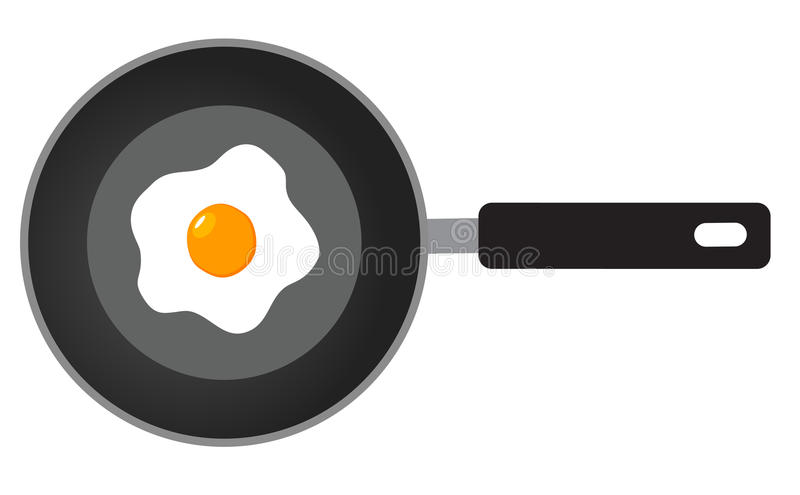 Vector frying pan. Vector illustration of fried eggs on frying pan flat design vector illustration