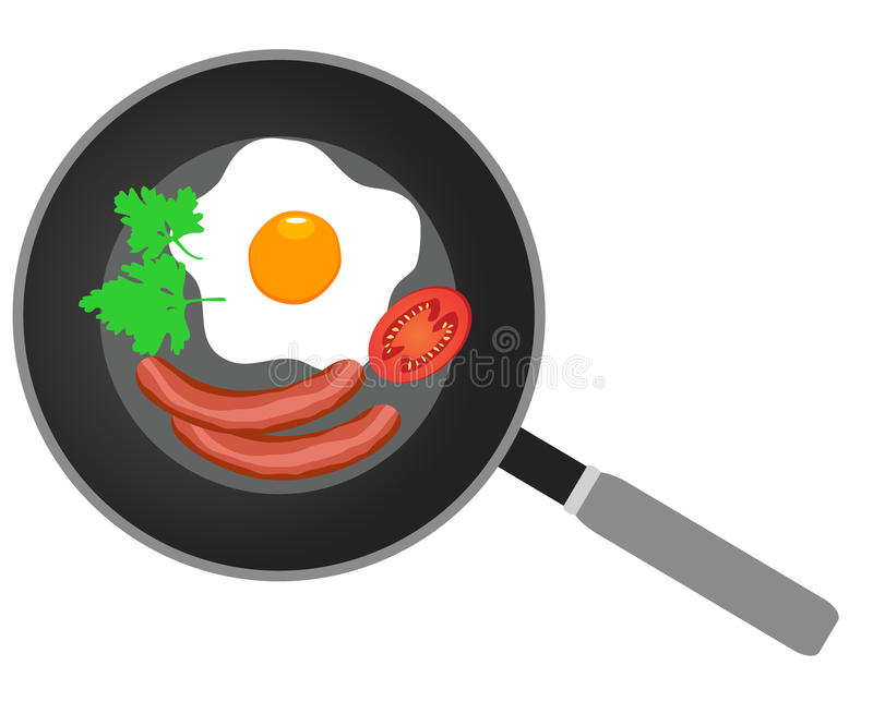 Vector frying pan. Vector illustration of fried eggs on frying pan flat design royalty free illustration
