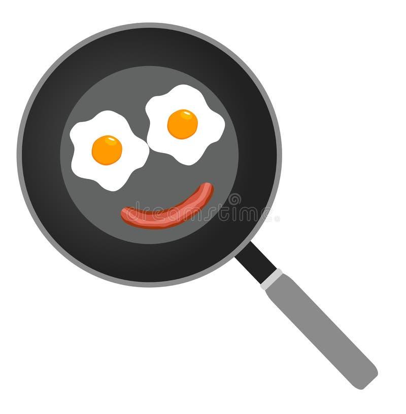 Vector frying pan. Vector illustration of fried eggs on frying pan flat design stock illustration