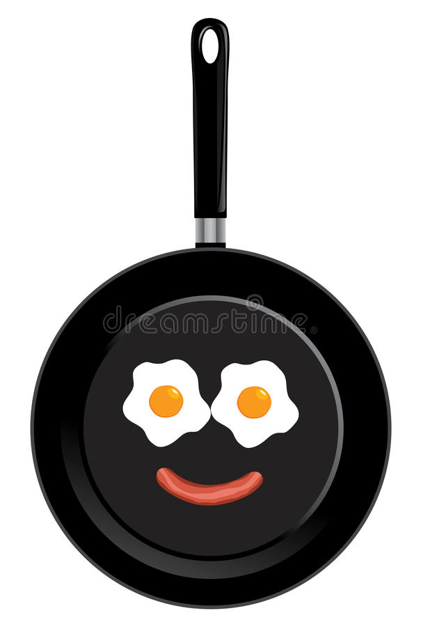 Vector frying pan. Vector illustration of a frying pan with smiley face. Breakfast fried eggs and sausage stock illustration