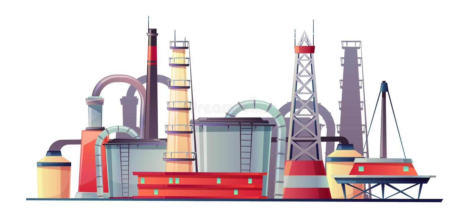 Vector fuel industry refinery plant, oil station stock illustration