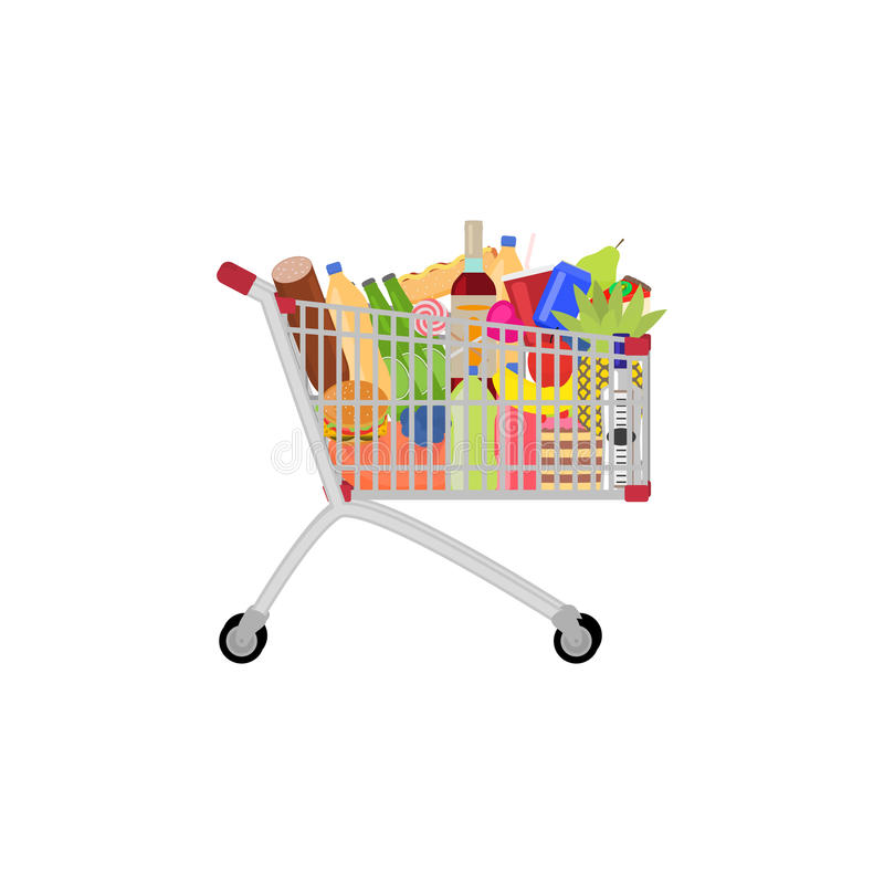 Vector full food meal drink a shopping trolley stock illustration