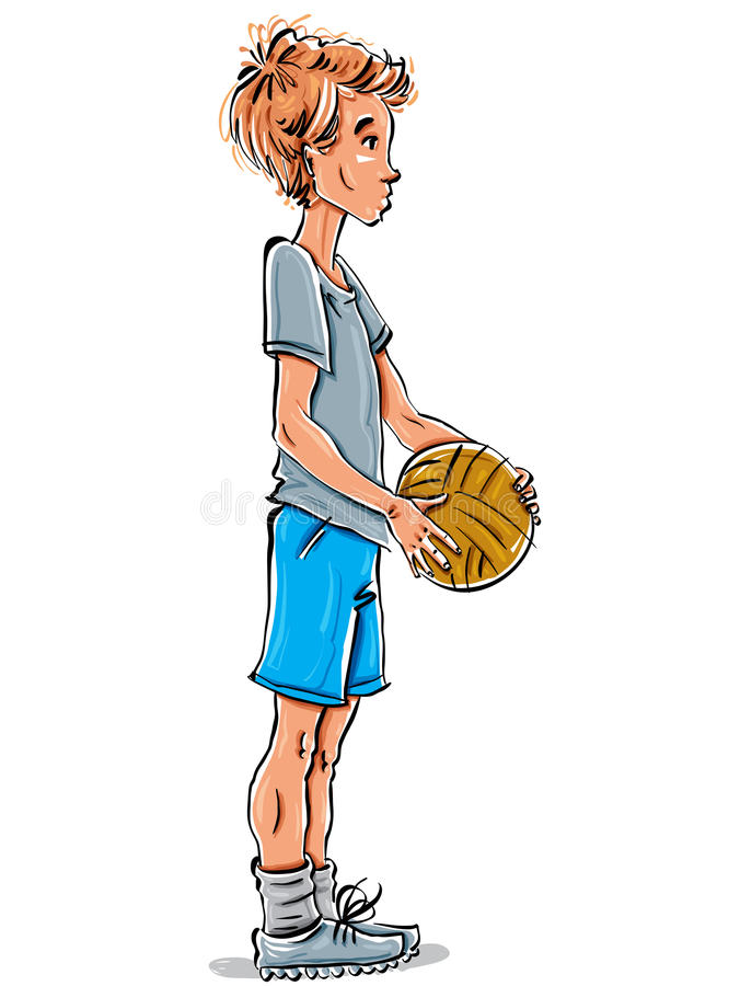 Vector full-length drawing of a Caucasian red-haired teenager wi. Th a soccer ball, bright cartoon hand-drawn side view of a youngster wearing t-shirt, blue stock illustration