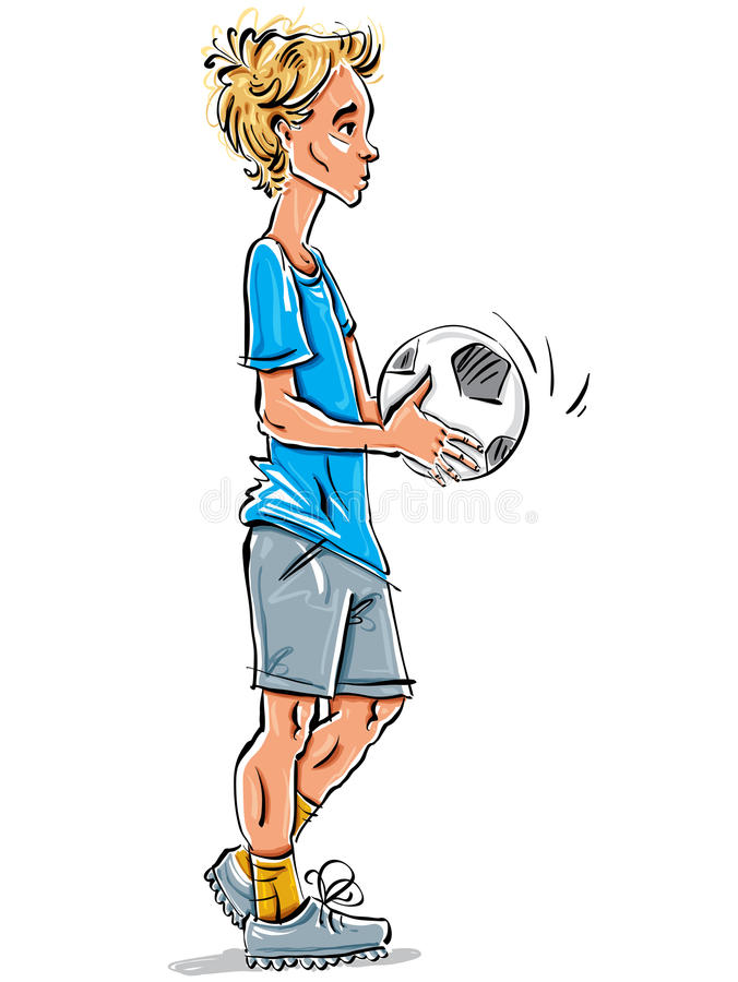 Vector full-length drawing of fair-haired teenager. Vector full-length drawing of a Caucasian fair-haired teenager with a soccer ball. Bright cartoon hand-drawn vector illustration