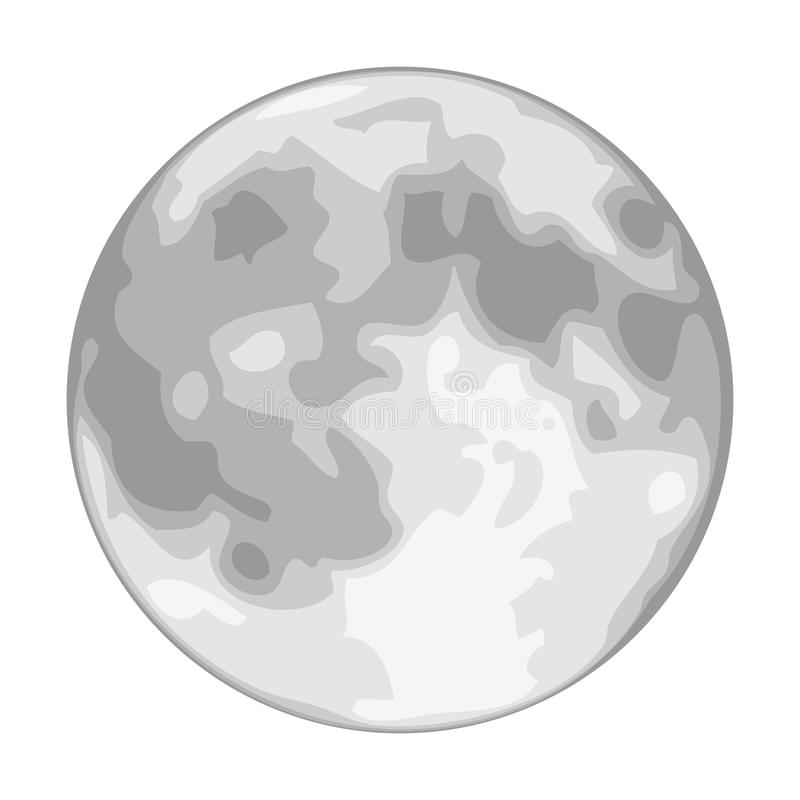 Vector Full Moon Isolated on White. Each shade of grey is on its own separate layer for easy manipulation vector illustration